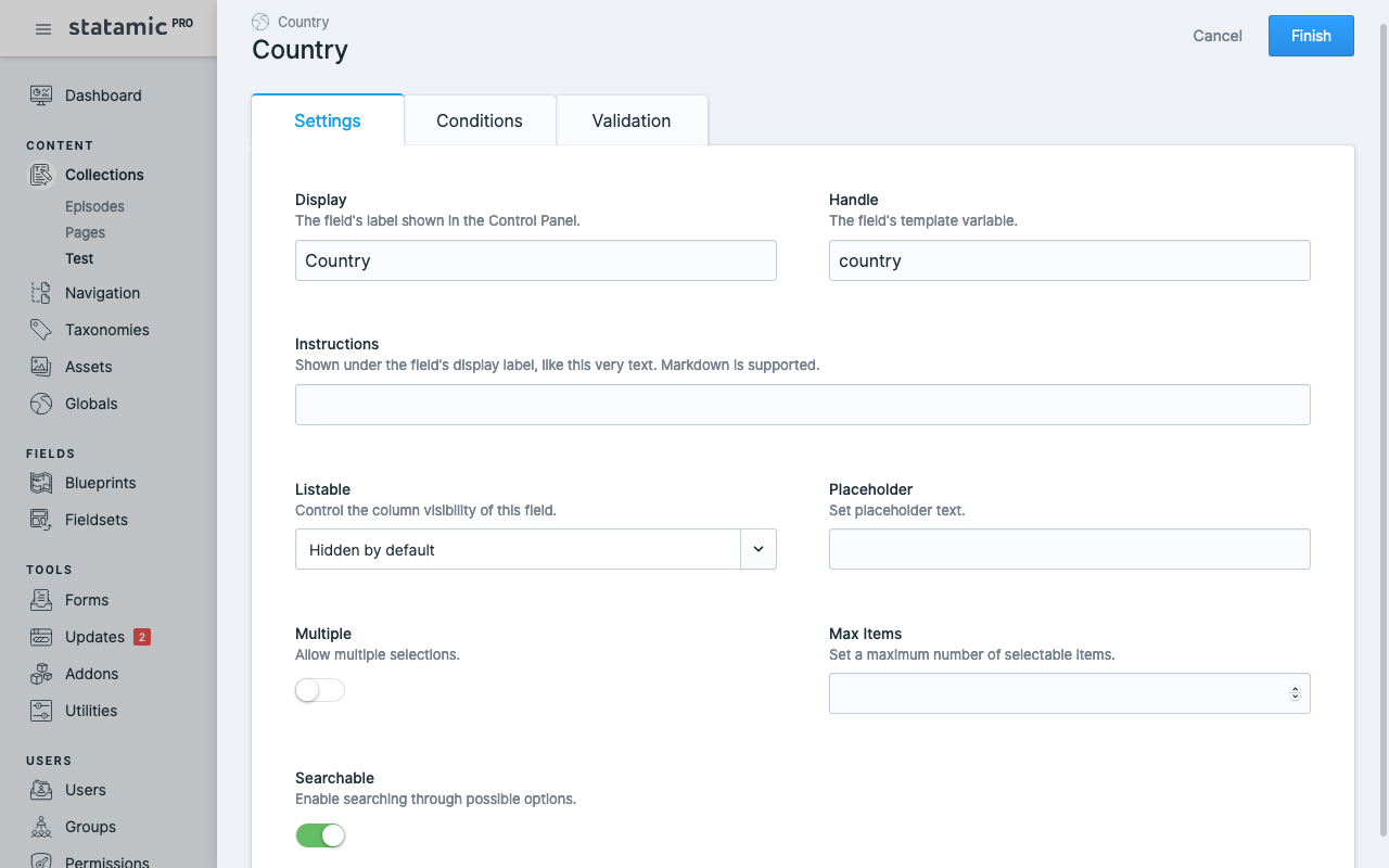 Statamic Language Country Options
