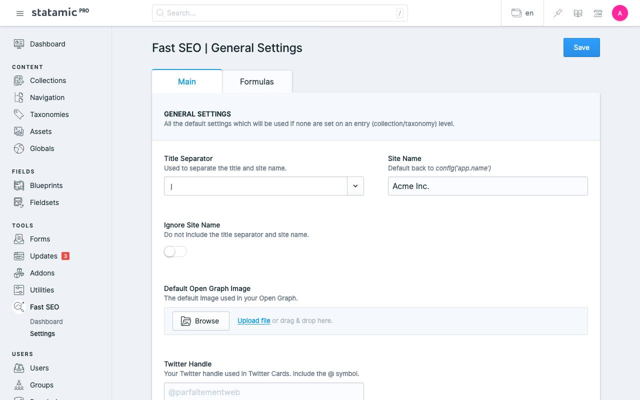 Statamic fast SEO General Settings