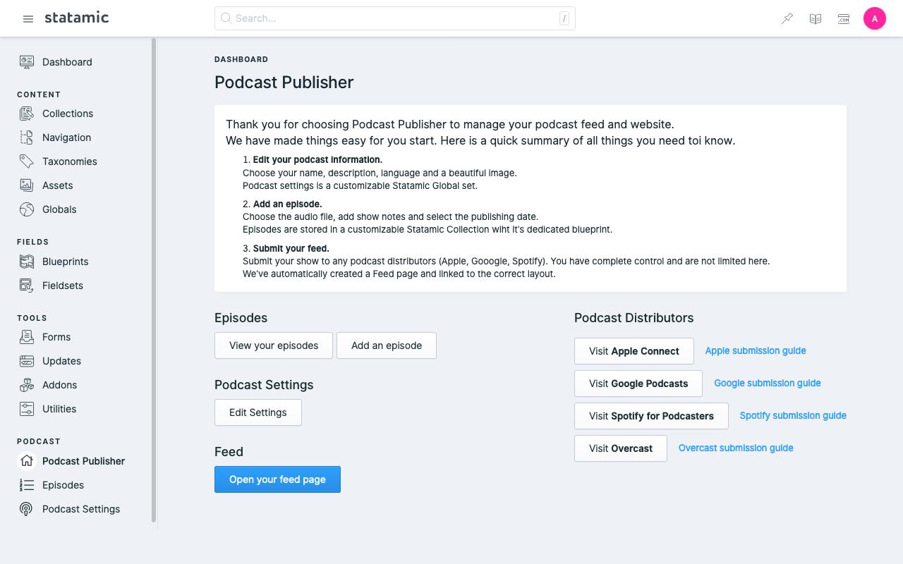 Statamic Podcast Dashboard