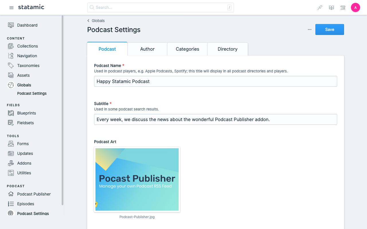 Statamic Podcast Settings